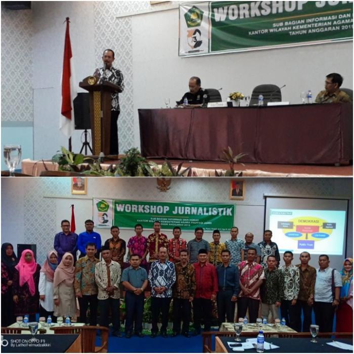 Buka Workshop Jurnalistik, Kakanwil: Insan Kehumasan Wajib Melakukan Updating Keilmuan